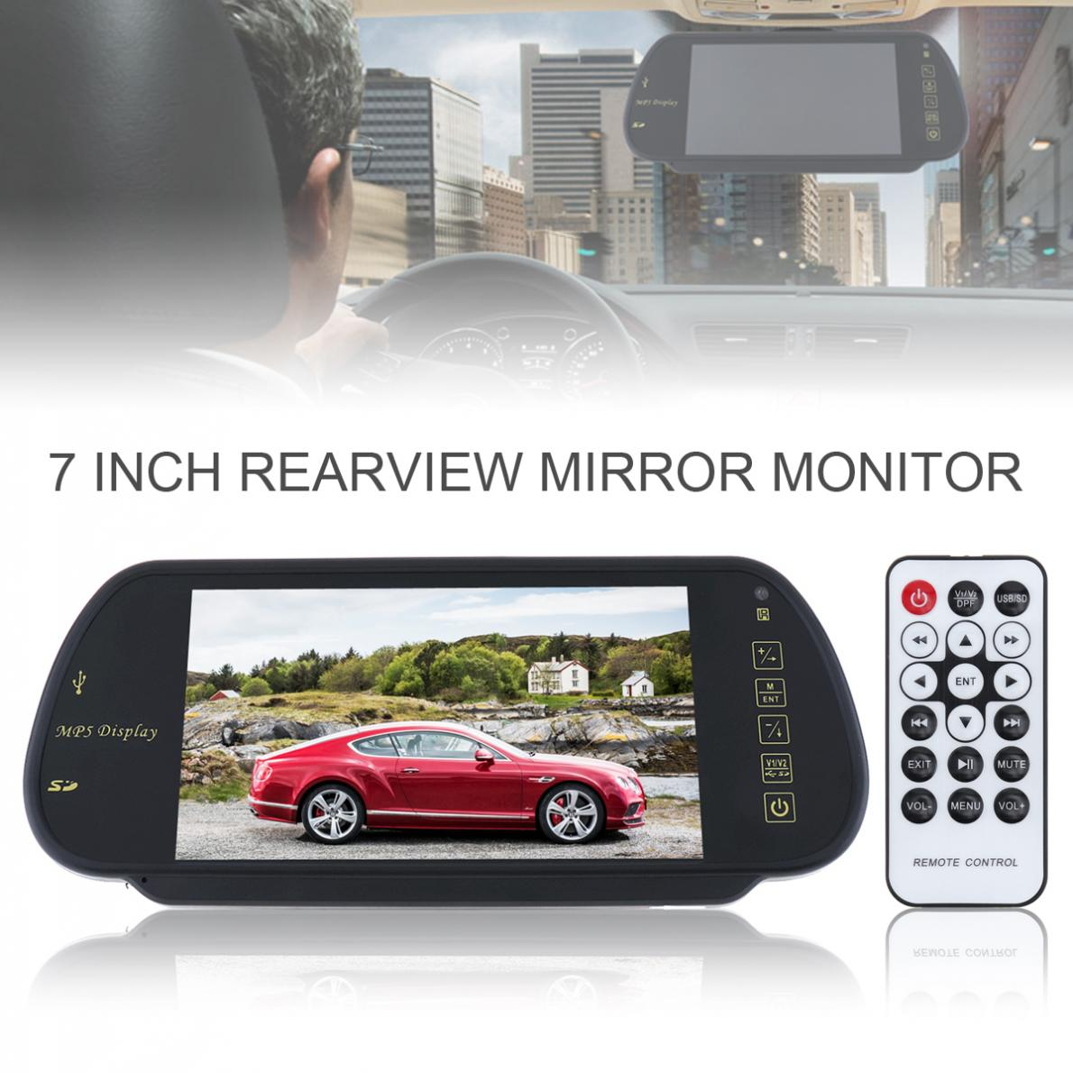 7 Inch DC 12V 100W TFT LCD Color Screen Car Rear View Mirror Monitor Popular Parking Assistance Support SD / USB
