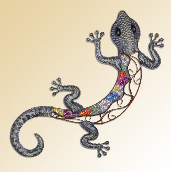 Modern Home Decoration Metal Wall Art Hand Made Creative Wall Gecko as Wall Decoration 62*32cm Free Shipping