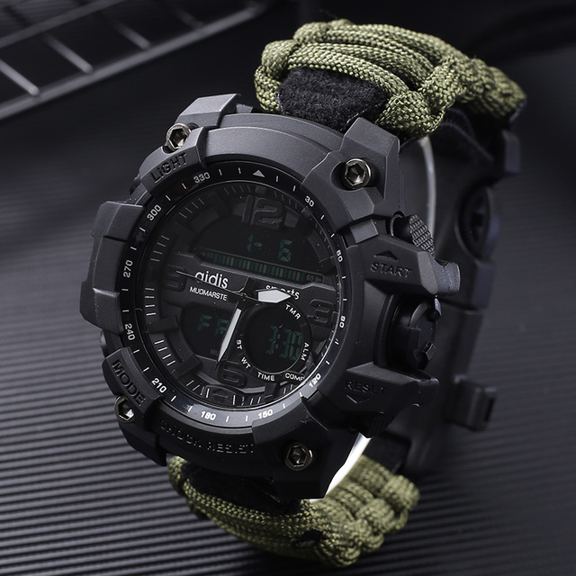 Addies G Shock Mens Military Watch With Compass 3Bar Waterproof Watches Digital Movement outdoor Fashion Casual Sport Watch Men