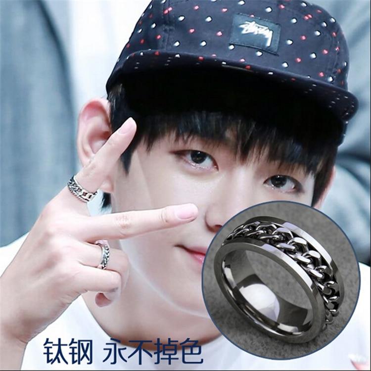Kpop Bangtan Boys BTS V Same men womem Titanium steel chain ring silver rings rotation k-pop bts j-hope Band tail ring Jewelry