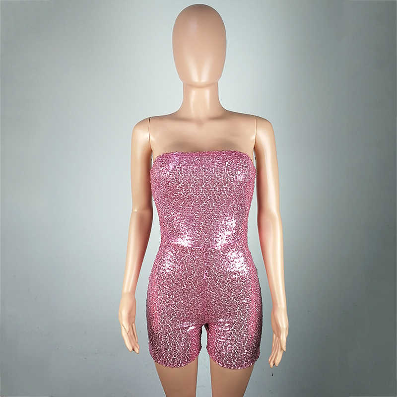 100a0d65aa ... BOOFEENAA Pink Sequined Romper Birthday Outfits For Women Sexy Jumpsuit  Clubwear Sparkly Glitter Strapless Party Jumpsuits ...