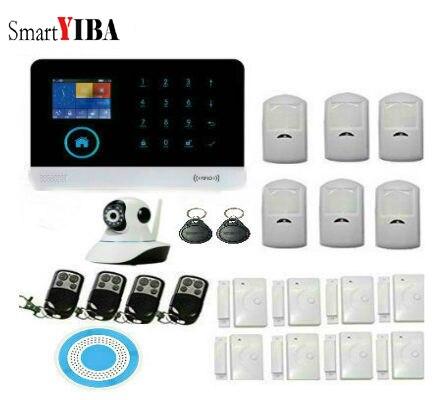 SmartYIBA Wireless WIFI Remove Monitoring GSM Security Smart Home Alarm System Kit,IP Camera TFT display door sensor home Alarm
