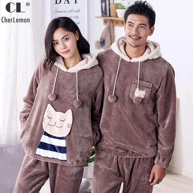 CherLemon Couples Cartoon Cat Thicken Flannel Fleece Hooded Pajamas Women and Mens Winter Warm Pyjamas Super Soft Homewear Brown