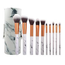10pcs Travel PU Marbling Makeup Brushes + Holder Bag Brush Storage Box Cosmetic Eyeshadow Foundation Brushes Container Case(China)