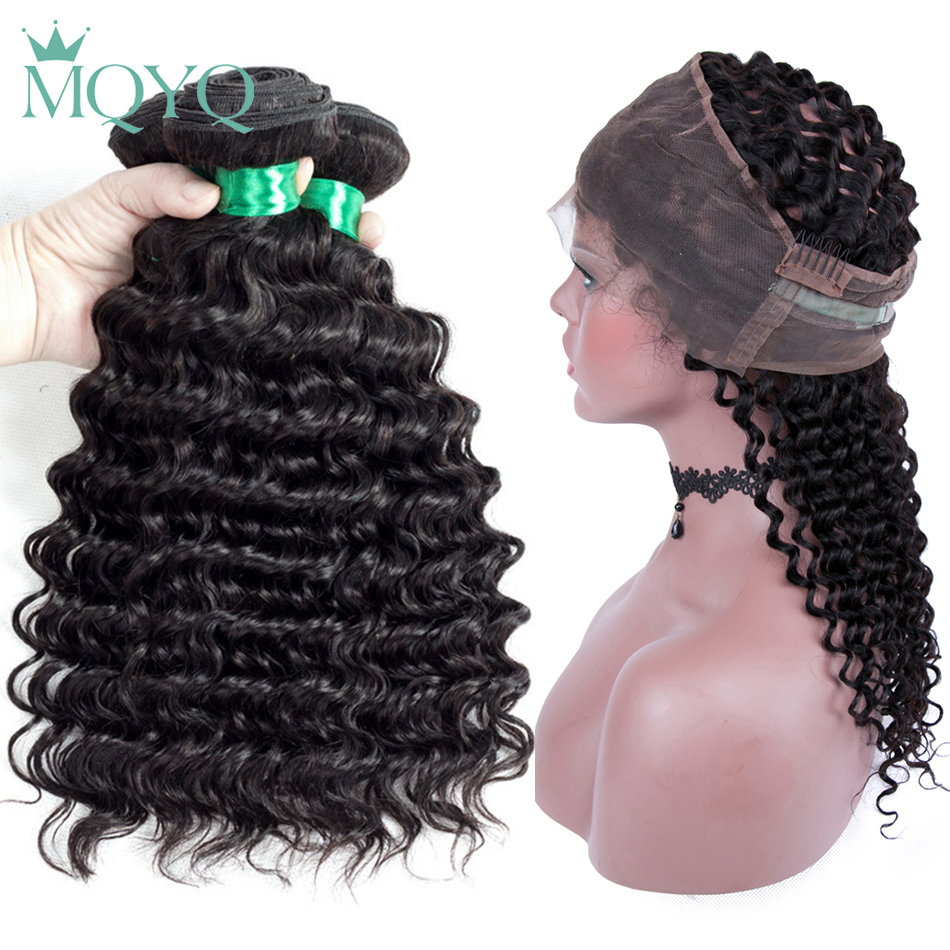 Pre Plucked 360 Lace Frontal with Bundle Deep Wave Brazilian Human Hair Weave 3 Bundles with