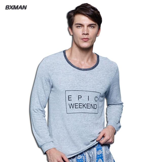 BXMAN Brand Men's High Quality Pijamas Hombre Casual Pajamas Sets Knit Cotton Solid O-Neck Full Sleeve Men Pajamas Sets Modal 54