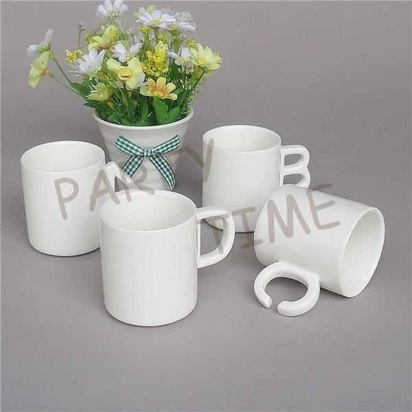 керамическая ручка для письма - Ceramic coffee mug, letter shape handle, white tea cup