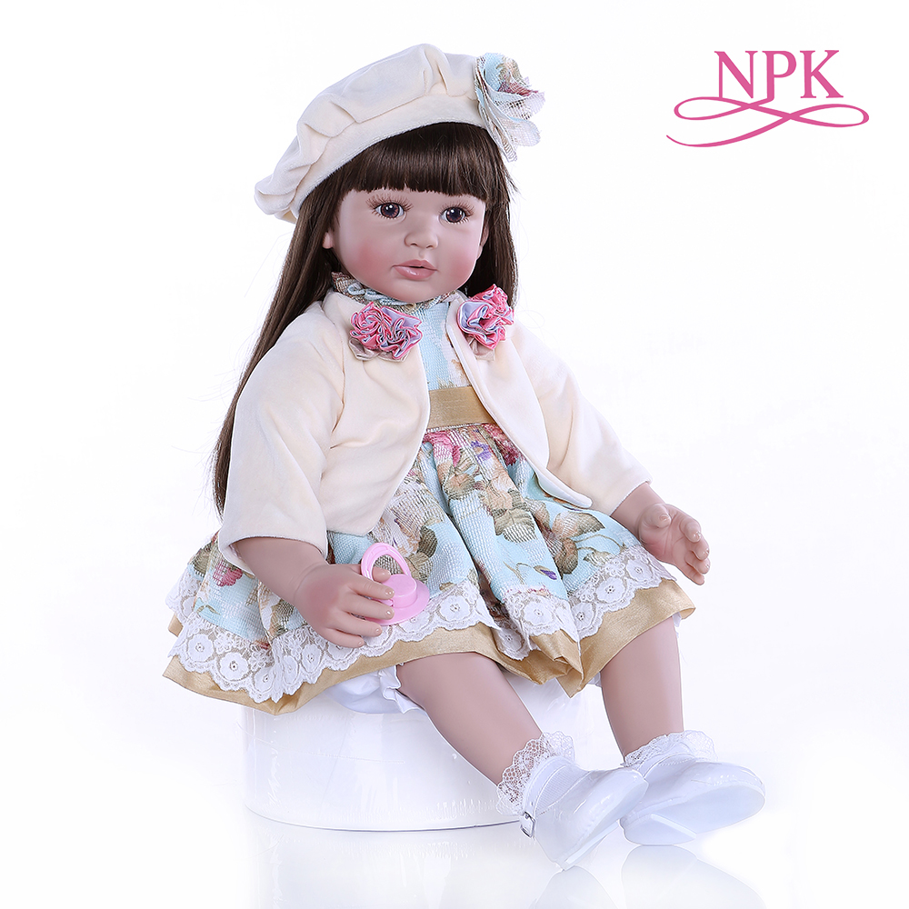 NPK 60CM High Quality Flexible Silicone Vinyl Reborn Toddler Baby Girl Doll With Long Brown Hair Doll 6-9M Real Baby Size