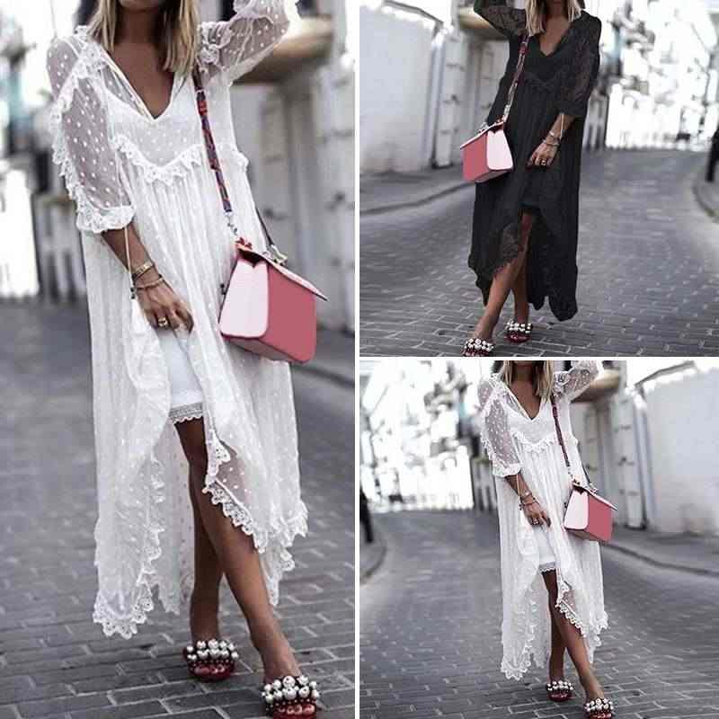 Vonda Bohemian Witte Kanten Jurk 2020 Vrouwen Sexy V-hals Dot Hollow Asymmetrische Zoom Jurk Zomer Vakantie Vest Vestidos S-5XL