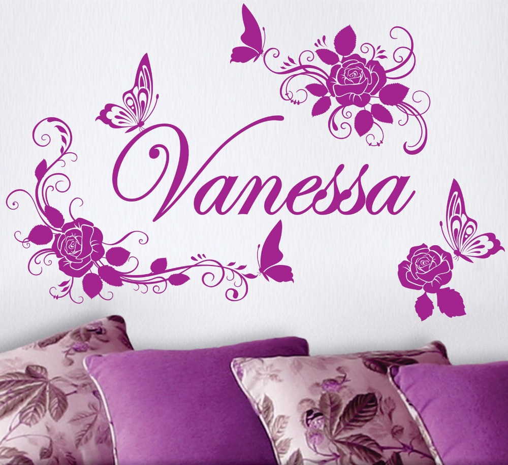 compare prices on rose flower names online shopping buy low price family stickers roses flowers custom name butterflies vinyl wall decals sticker art decor mural china
