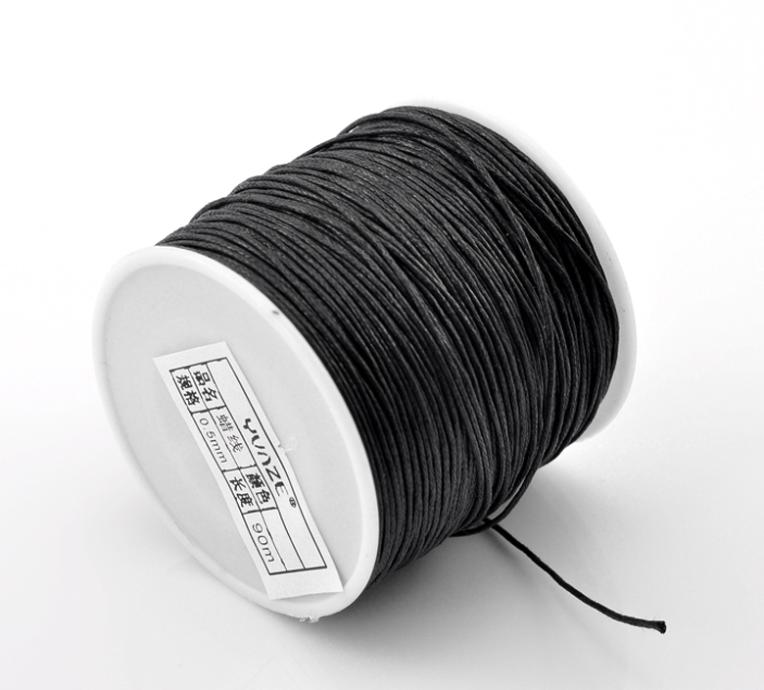 Waxed Cotton Cord For Bracelets Necklace Making DIY Finding Black 0.5mm 90M