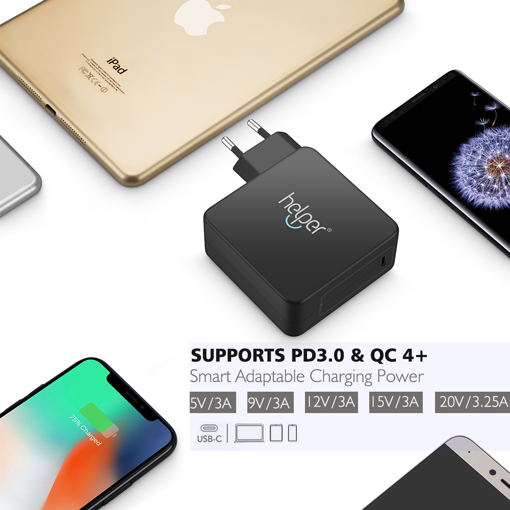 PD3.0&QC4+ USB C Wall Charger 65W Type C Power Delivery Fast Charger for Xiaomi Air pro Macbook Touchbar LENOVO X1 YOGA iPhone X usb c charger power delivery qc 3 0 type c pd 3 port fast charger for new macbook samsung hp dell acer asus l