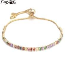 Pipitree, браслет для тенниса с несколькими кубическими циркониями и браслет для женщин, медная Регулируемая цепочка, Браслет-Шарм, ювелирные изделия, Браслеты Mujer