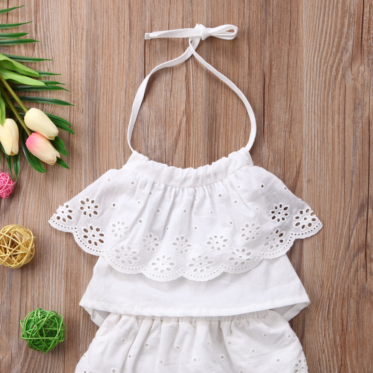 Emmababy Summer 0-24M Infant Clothes Baby Girl Lace Strap Ruffled Sleeveless Tops+Lace Shorts Pants Outfit Set Casual 2pcs