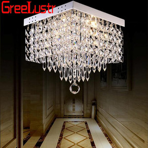 Modern square crystal led Chandeliers Ceiling Pladfon lamps For Hallay Corridor restaurant chandelier light Fixtures Ceiling