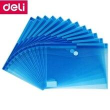 60PCS/LOT Deli 5504 A4 File Bag File pocket with button Elastic closure folder documents pocket folder Blue & white wholesale