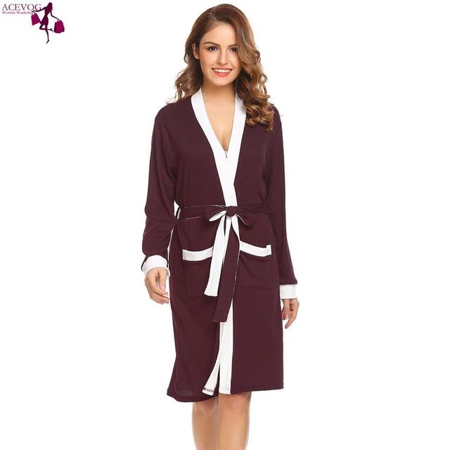 ea6d97beee32 ACEVOG Spa Sleeve Women Long Robe Sleepwear Bathrobe cute Feminino fashion  Patchwork Kimono