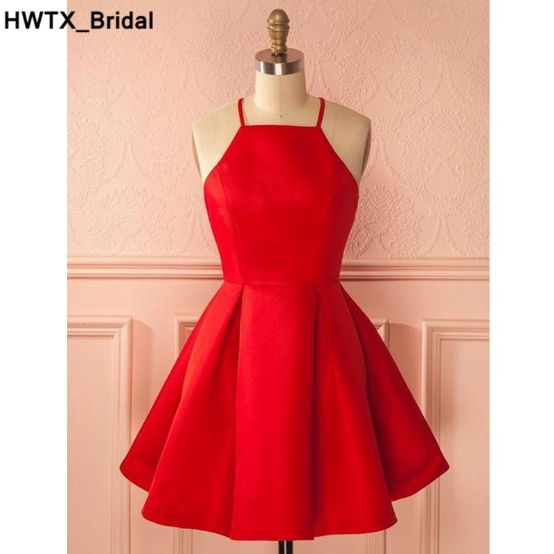 Charming Red Satin Short   Bridesmaid     Dress   2018 Knee Length Girls   Dress   for Wedding Party Plus Size Homecoming Graduation Gowns