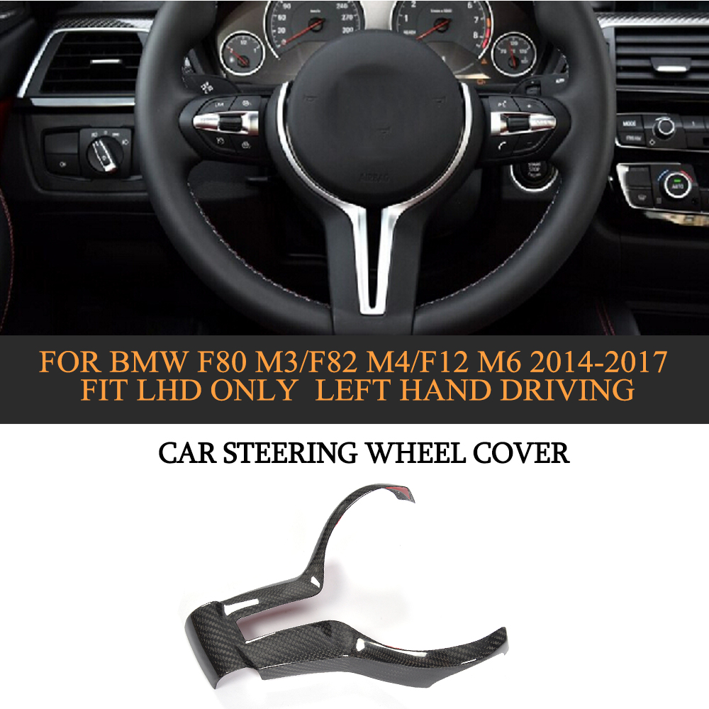 DRY Carbon Car Steering Wheel Cover For BMW F80 M3/F82 M4/F12 M6 2014-2017 Fit LHD Only Left Hand Driving car wind 38 cm genuine leather car steering wheel cover black steering wheel cover for bmw vw gol polo hyundai car accessories