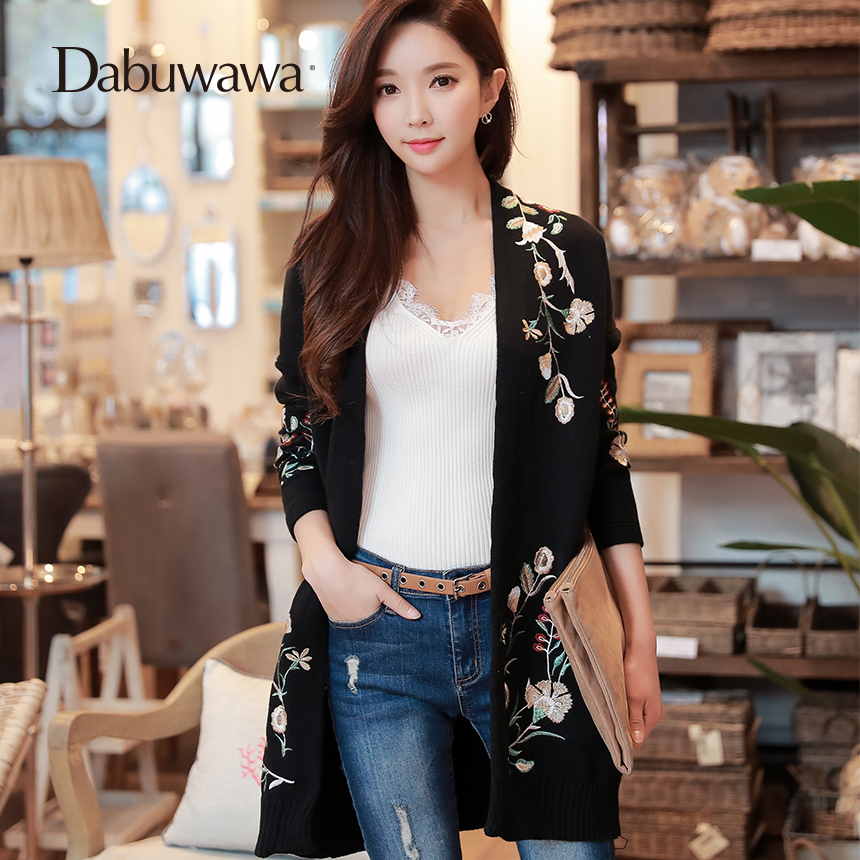 Dabuwawa New Spring Black Knitted Long sleeve Coat Women Embroidery V Neck Vintage Sweater Outwear Cardigans