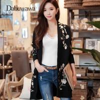 Dabuwawa Black Spring Coat Embroidery Knitted Long sleeve V Neck Women Vintage Sweater Outwear Women Cardigans Coat