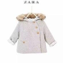 New Children Girl's Baby Oblique rank buckle winter coat Fur collar quilted Hooded Overcoat Wholesale 2016