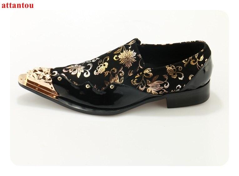 Hot Sale 2018 Pointed Toe Men Dress Shoes Genuine Leather Black Luxury Golden Floral Print Decor Male Flats Office Formal Shoes men floral print ombre tee