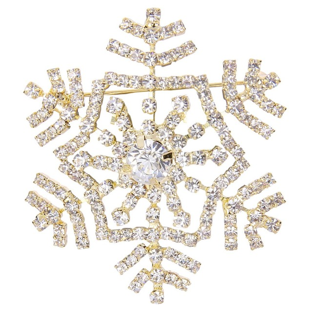 Beautiful BELLA Fashion Christmas Gift Gold U0026 Silver Tone Winter Snowflake Rhinestone Brooch  Pins Clear Austrian Crystal
