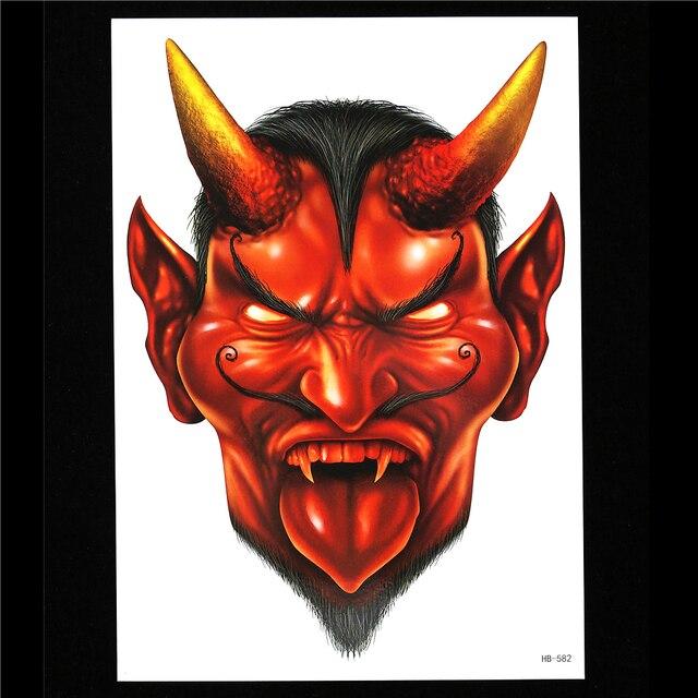 1pc red water transfer decal demon tattoo women men body art hb582