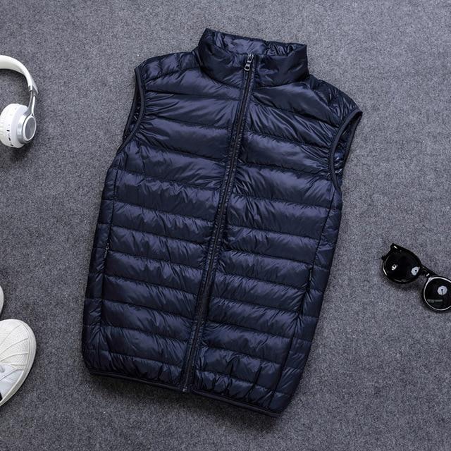 Schinteon 90% White Duck Down Men Vest Gielt Casual Waistcoat Spring Autumn Light Down Jacket Male 2
