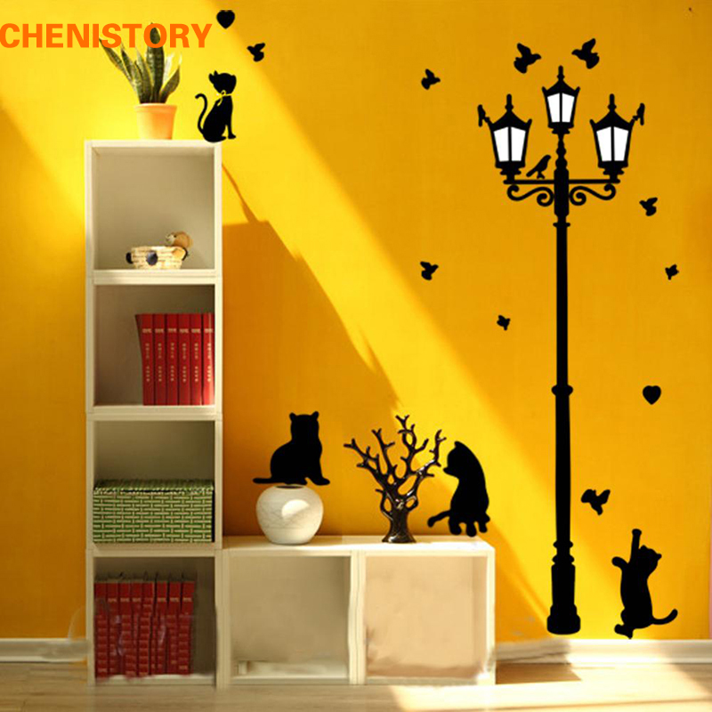 Diy removable naughty cats birds and street light vinyl for Home decor 86th street