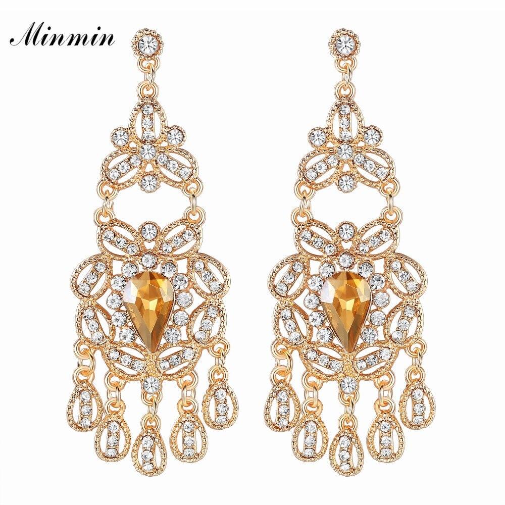 Sparkling Crystal Block Ring Chandelier: Minmin Sparkling Crystal Chandelier Dangle Earrings For