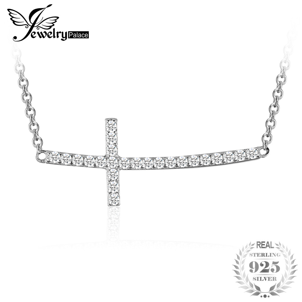 JewelryPalace Cross 0.9ct Cubic Zirconia Necklace Soild 925 Sterling Silver Jewelry for Women Gift Special Brand New 2018