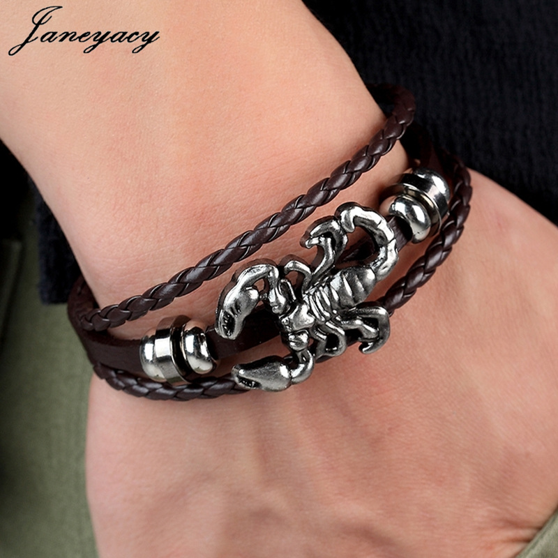 Janeyacy 2018 Vintage Scorpion Bracelet Women Multilayer Leather Bracelet Men's Charm Hot Bracelet Bracelet Accessories Pulseras