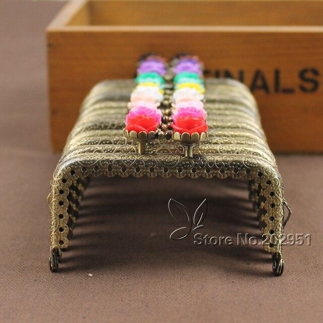KISSDIY 20pcs Wholesale 8.5 CM Rose Head metal purse frame antique Bronze Square Kiss metal Clasp Pattern DIY Bag Accessories