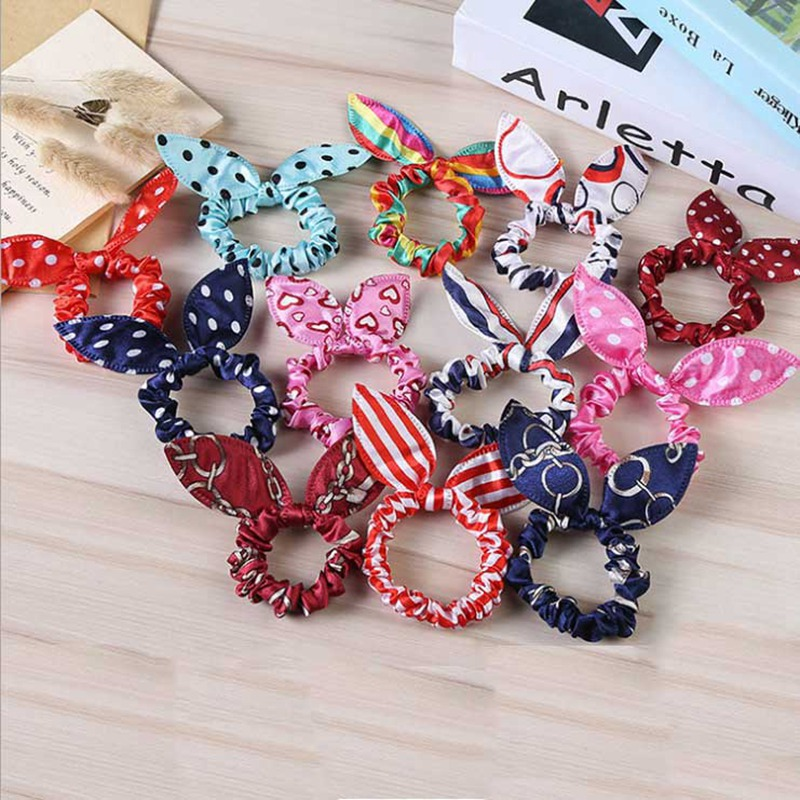 Rabbit Ears Hair Band Children Kids Hair Accessories Scrunchies Elastic Hair Band For Women Girl Rubber Band Polka Dot Hair Rope