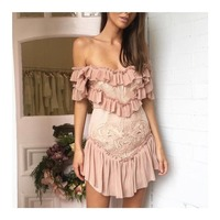 Runway Designer Lace Embroidery Mini Dress 2019 Women Sexy Off Shoulder Ruffles Female Dress Vintage Bohemian Resort Vestido