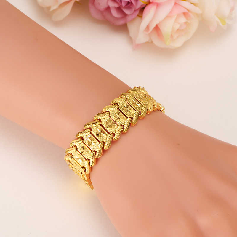 wide 17mm MEN 18 K YELLOW SOLID GOLD FINISH  REAL ID BRACELET SOLID WATCH CHAIN LINK 20cm