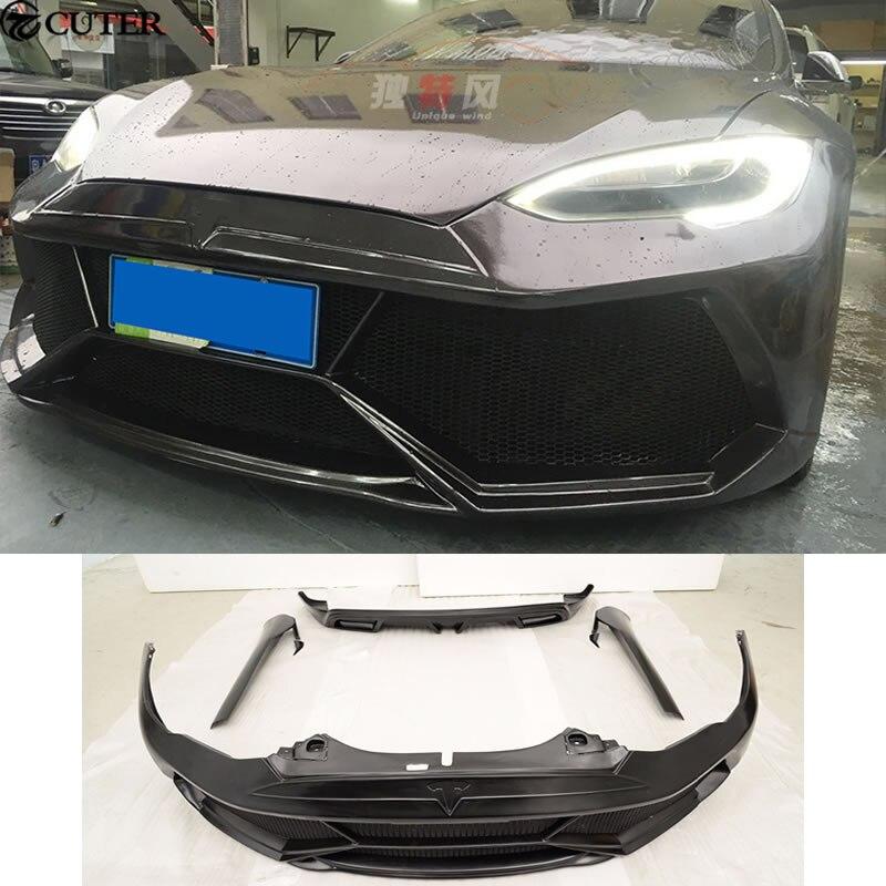 MODELO S FRP Car Body Kits Amortecedor Dianteiro Saias Laterais Traseiros Bumpers Para Tesla MODEL S 2014 2015
