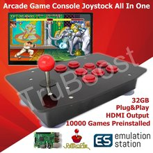 Console de jogos raspberry pi arcade, joystick tudo em um 10000 jogos preinstálido