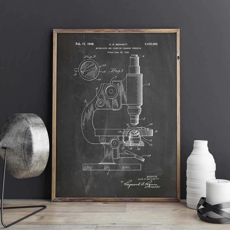 Microscope Patent Microscope Wall Art Print Chemistry Posters Science Room Wall Decor Vintage Blueprint Canvas Painting Pictures
