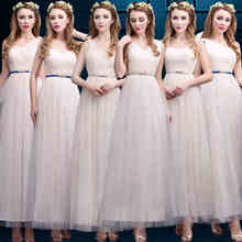Light Champagne Tulle Bridesmaid Dresses Floor Length One Shoulder Long Junior Girl Maid of Honor Dresses Wedding Party Dress