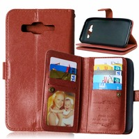 For Samsung Galaxy J5 J500 9 Card Slot Flip PU Leather Wallet Solid Color Case For