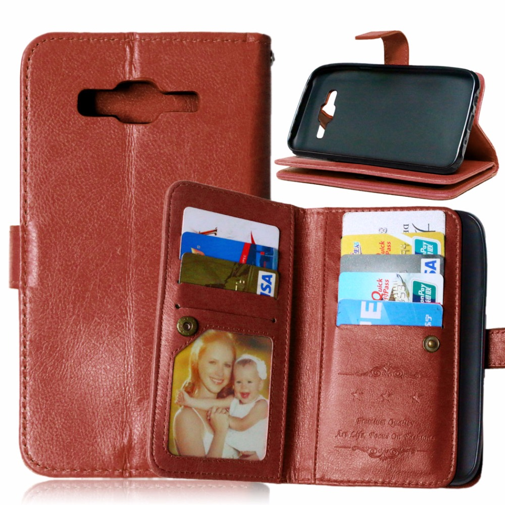 9 Card Slot Flip PU Leather Wallet Case for Samsung Galaxy J1 mini J2 Prime J3