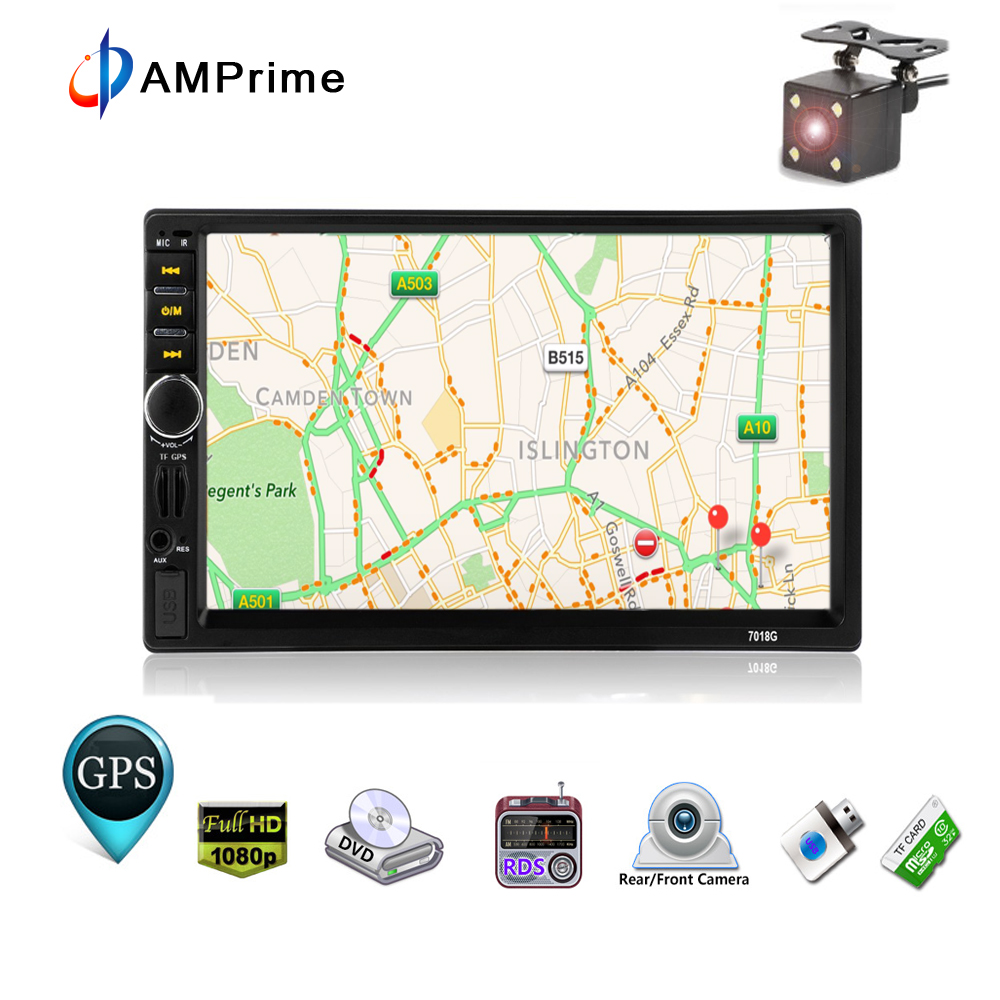 AMPrime Autoradio With GPS Navigaiton Map 2 din 7'' HD Touch Screen Bluetooth Car Multimedia Player MP3 MP5 Player 7018G Radios podofo 2 din car multimedia player gps navigaiton camera map 7 hd touch screen bluetooth autoradio mp3 mp5 player 7018g radios