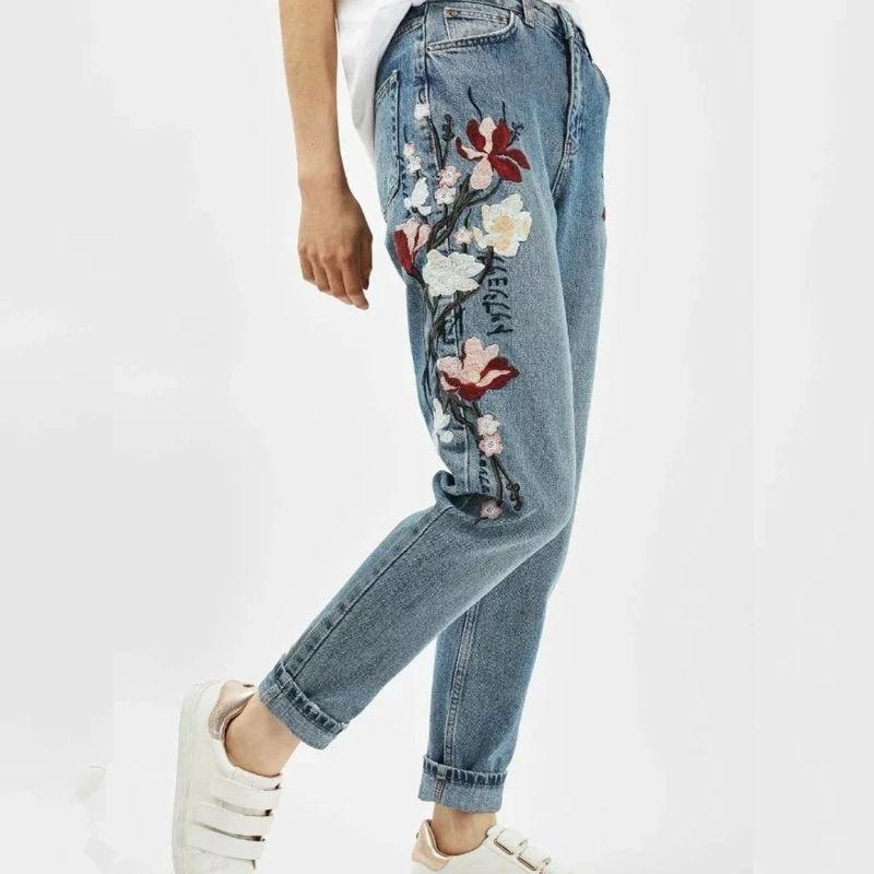 Heyouthoney fashion women high street vintage high waist denim embroidery mom jeans femme pants