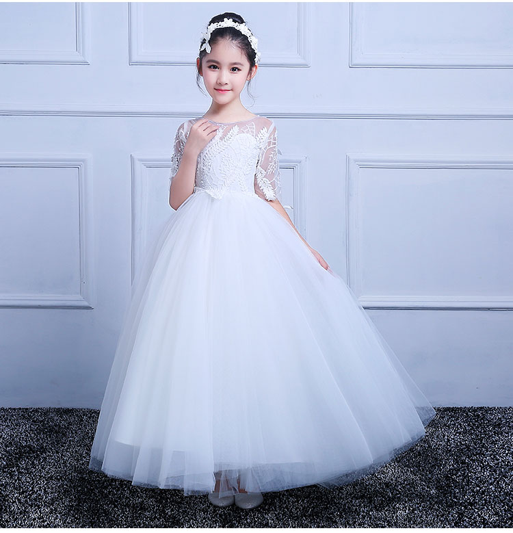 White Flower Girl Dress Wedding Bridesmaid Birthday Party Formal Recital Ball Gown Sleeveless First Communion Dresses for Girls стоимость