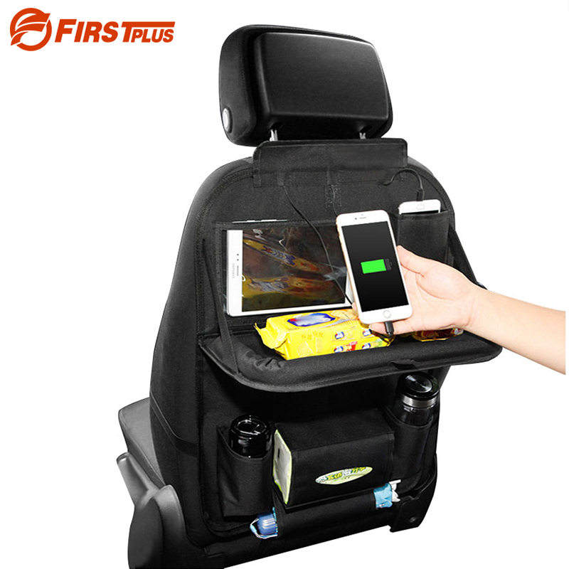 Multi Car Back Seat Organizer Pockets Foldable Tray With Usb