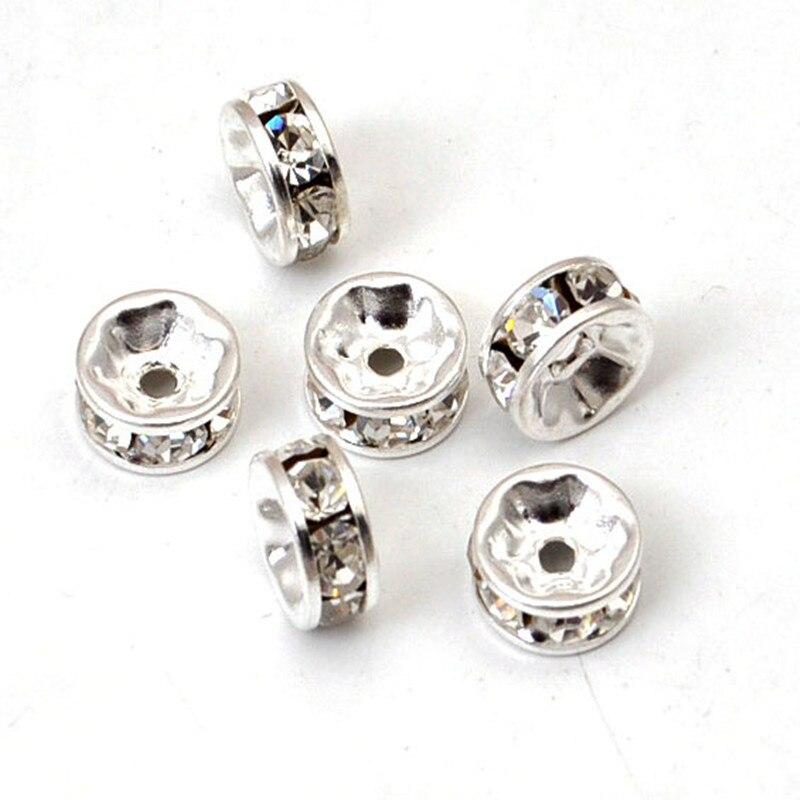 c9c743a58fb 100 PCS 6mm materiais de Cobre cor prata cristal rhinestone broca checa  contas encantos buraco beads spacer bead fit para pulseira