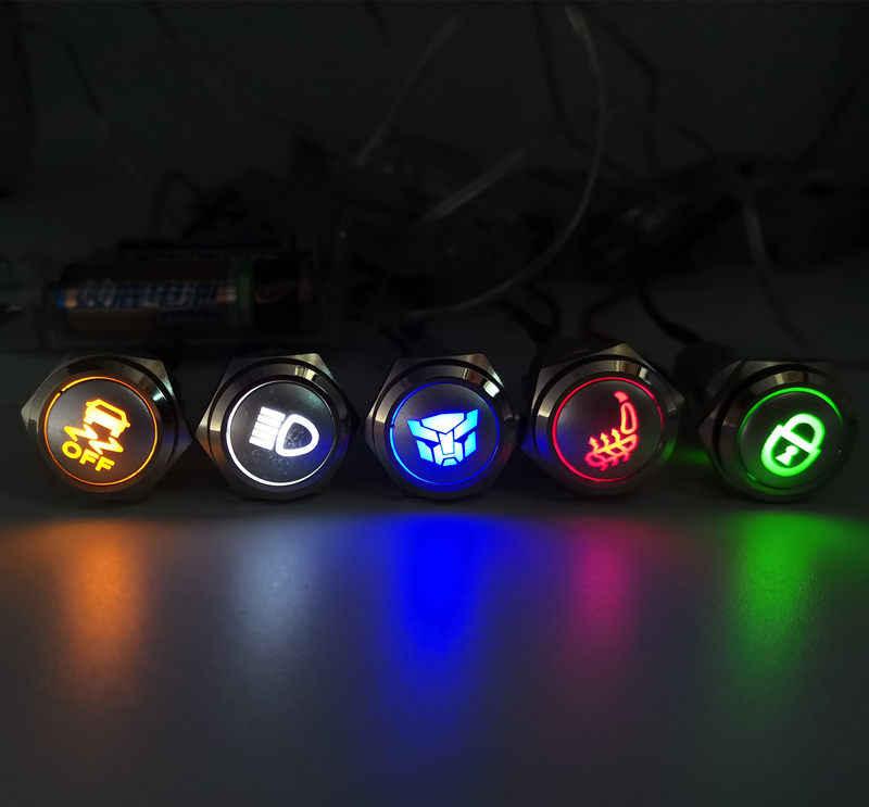 16mm 19mm 22mm Car Seat Heating Push Button Light Momentary Latching 12V Switch  3V 5V 12V 24V 220V LED Light Car Start Speaker